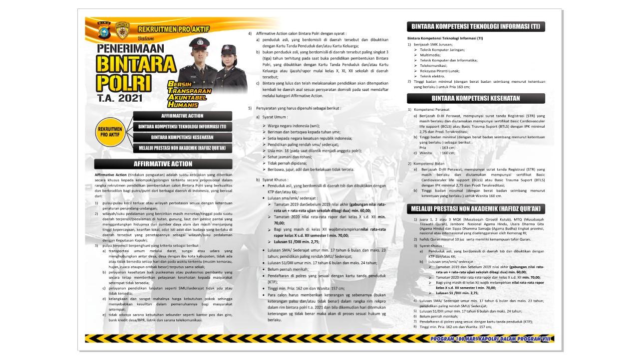 Kabar Gembira! Polres Inhil Membuka Rekrutmen Bintara TA 2021